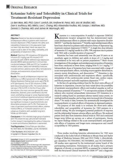 Ketamine safety and tolerability in treatment resistant depression