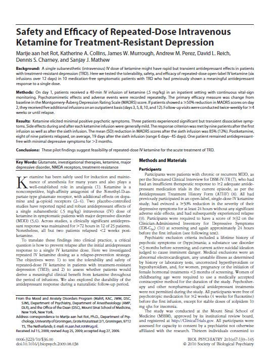 Safety and efficacy of repeated dose intravenous ketamine for treatment resistant depression