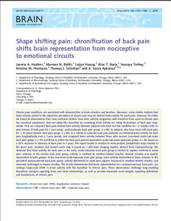 Shape Shifting Pain_Chronification of back pain shifts brain representation