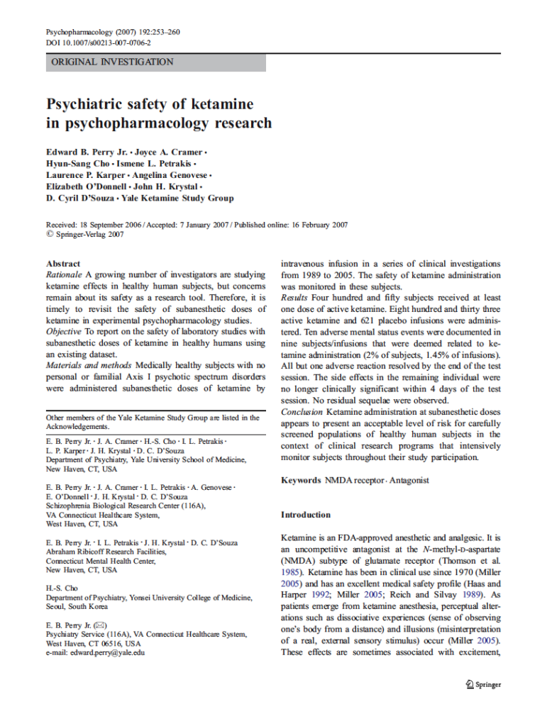 Psychiatric Safety of Ketamine
