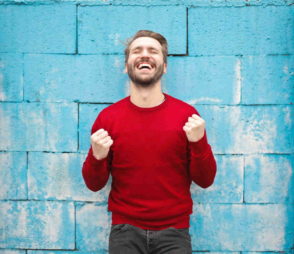 man excited about ketamine infusion